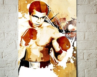 MUHAMMAD ALI, Celebrity, sports, illustration of the boxing legend, Poster size, art print available in multiple sizes.
