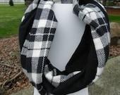 Infinity Scarf - Black Plaid w Black Flannel