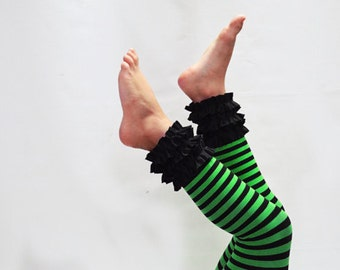 Immediate shipment. Black and Emerald green stripe ruffled footless tights