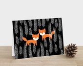 Night Foxes Greeting Card -Christmas happy birthday mothers fathers day thank you black feathers foxes orange festive halloween thanksgiving