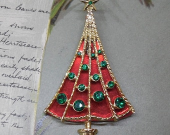 Signed B.J. Red & Green Christmas Tree Brooch Pin