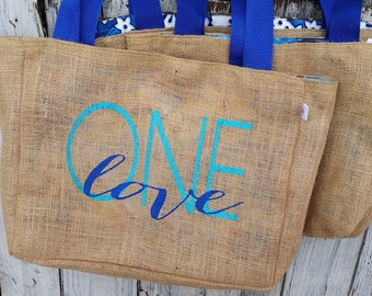 5+ One Love - Jamaica - Destination Custom Destination Wedding Welcome Beach Tote Bags - Handmade Wedding Favors or Bridesmaids Gifts