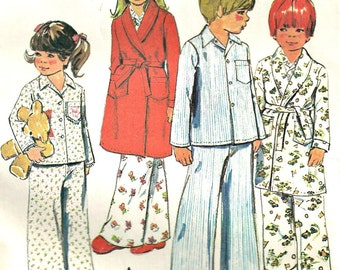 Childrens Robe & Pajamas McCall's Pattern 4741 Size 4 Vintage 1970s Clearance Sale  Pattern Destash