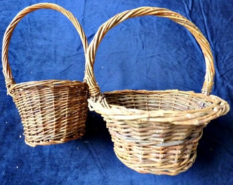 Vine Twig Baskets 2 Brown Rustic Wedding Baskets Vintage 1980's