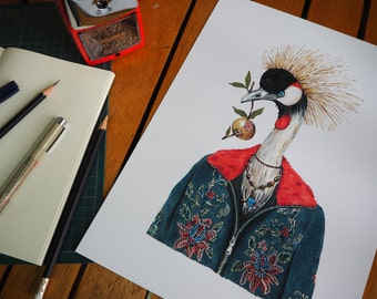 MR. Grey Crowned Crane  Print 33 X 24.15 cm 270 gsm. Quality Paper  Limited Edition 50 pieces from my original Copic Marker on Muji Notebook