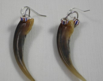 Real Badger Claw Hook Earrings with Glass Beads New Handcrafted Unisex Earpiece