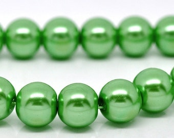 ON SALE - 10mm Green Glass Pearl Imitation Round Beads - 16 inch strand