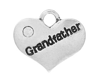 """1 or 2 or 4 pcs. Antique Silver """"Grandfather"""" charm with rhinestone - 16mm X 14mm"""