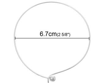"""6pcs. Antique Silver Plated Bangle Adjustable Slide On Ball End Bracelets 20cm (7.87"""") - Made of Copper!"""