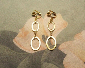 Clip on or Pierced Double Oval Gold or Silver Dangle Earrings