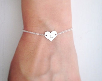 Heart bracelet, monogram heart, initial bracelet, silver bracelet -Personalized, Sterling silver, sister, mothers gift, handstamped