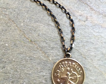 Sagittarius Horoscope Zodiac Necklace, Brass pendant and chain,  Fire sign, Everday jewelry