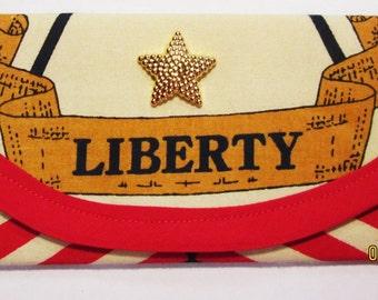 Wallet Money clip, Bags & Purses, Liberty Patriotic Stars Stripes Fabric, 7 x 3 Gold Plastic star or Blue inside, Handbag accessory Envelope