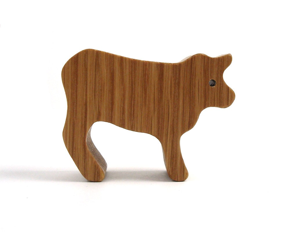 Small Toy Cows : Miniature wooden cow toy waldorf wood country by