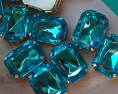12 Pieces of 13 x 18 mm, Aqua Blue Acrylic Octagon Rectangle Rhinestone, Jewels, Cabochon With Silver Prong , Sew on Setting.