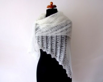 ecru bridal shawl, lace cover up, handknit stole, with mohair, knit wedding wrap