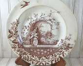 Vintage Shabby Chic Hill Pottery Brown Transfer-ware Bowl