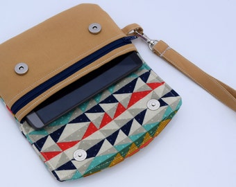Cellphone Wallet, Aztec Wristlet, Small Zipper Pouch, Gift for Her, Handmade, Ready to Ship
