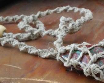 hemp necklace/hemp choker/macrame/jasper stone/hippie jewelry