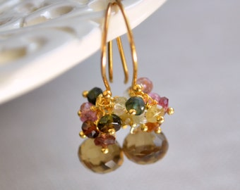 Gemstone Drop Earrings, Tourmaline Clusters, Beer Quartz, Real Stone, Vermeil, Gold Jewelry, Free Shipping