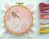 Embroidery sampler.Printed fabric to stitch.Vintage rose and bird.Geometric design.DIY hand embroidery.Home decor. Needlecraft.
