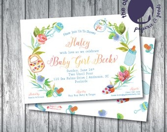 Baby Wreath Shower Invitation | Baby Bottle | Boy or Girl | Custom Order | Printable or Printed | Front and Back | Watercolor | Colorful