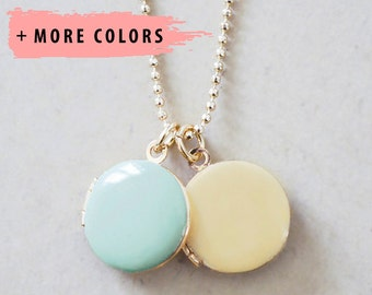 Double Locket Necklace - Enameled Jewelry Charms