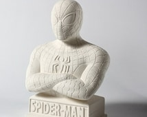 Unfinished Spiderman Bank - Ready to Paint - Kids Ceramic Supplies  - DIY - Super Hero Birthday Party Craft Activity
