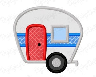 Camper Applique Machine Embroidery Design 4x4 5x7 Camping Trailer INSTANT DOWNLOAD