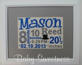 Nursery Art New Baby Gift Birth Stats Canvas Birth Announcement Subway Art Embroidered 8X10