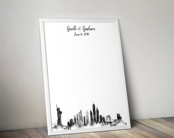 Wedding Guestbook Print - New York City Watercolor Skyline Guest Book Alternative - Personalized Print 8x10 or 11x14