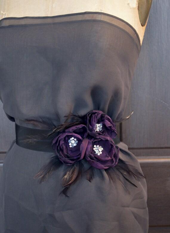 Purple Chiffon Flower Sash Belt Bridal