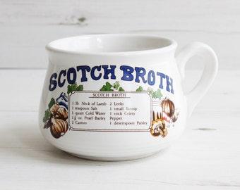 Vintage soup cup  - Scotch broth mug recipe cook drink handle Large blue cooking kitchenware