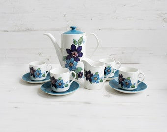 Vintage Johnson Brother Coffee Pot Set - Teacup and Saucer Creamer Blue Flower Serving Display Drink