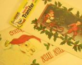 Vintage NOS Instant Iron On Transfer Santa Craft Supplies