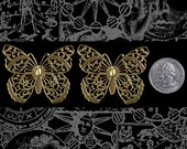 Two Antique Brass Filigree Butterfly Pendants * AB-P14