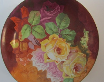 E. Laport Ceramic Plate with Roses, Royal Italian Art, hand painted