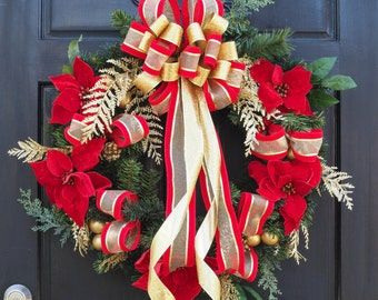 Red Poinsettia and gold ribbon Holiday wreath