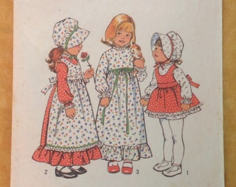 Vintage Simplicity Pattern 6635 Girls Size 3 Holly Hobbie Dress and Apron