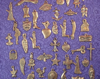 50 Assorted Antique Gold Tone Mexican Milagros Charms ExVotos Wholesale