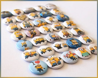 "35 Minions Magnets. 1"" Round Mini Buttons Badges Lot. Kids Party Favors Goody Bags. Despicable Me. Kevin Stuart + (b007) Rubber Magnets"