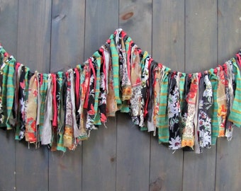 Colorful Fabric Fringe Garland, Wedding, Baby Shower Decor, Nursery Wall Hanging, Whimsical and Bright