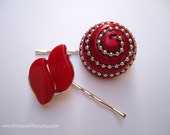 Vintage earring hair grip - Cherry ruby scarlet carmine crimson cardinal red Lisner thermoset chunky bold embellish decorative hairaccessory