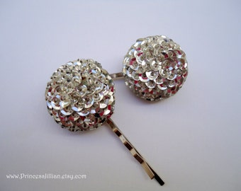 Vintage earrings bobby pins - Sparkly shiny silver sequins cluster chunky unique upcycled fun embellish decorative jeweled hair accessories