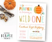 PUMPKIN First Birthday Invitation WILD ONE invitation Our little pumpkin is turning a wild one invitation Arrow Tribal Fall Autumn Birthday