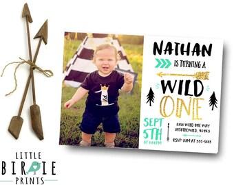 WILD ONE Invitation Boy Wild one first birthday invitation, Arrow Teepee Invitation Tribal Invitation - Pow Wow Invitation - Adventure Black
