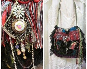 Renaissance Purse, handmade fabric bag, shoulder bag, earth tones bohemian bag lace fringe embellished gypsy bag