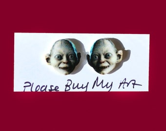 Gollum Smeagol Lord of the Rings Hobbit Stud Earrings