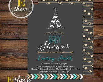 Teal and Gold Teepee Baby Boy Shower Invitations - Boy's Tribal Indian Shower Invitation - Gray, Teal, Gold Glitter Shower Invite #1004