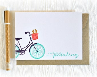 Bicycle card // encouragement card // handmade greeting card // just because card